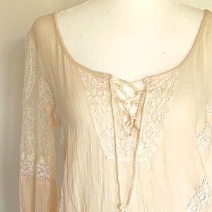 AE Embroidered Lace Tassle Blouse